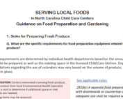 Guidance document for NC child care centers