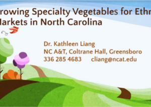 Growing Specialty Vegetables Presentation