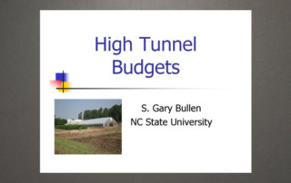 Hight Tunnel Budgets