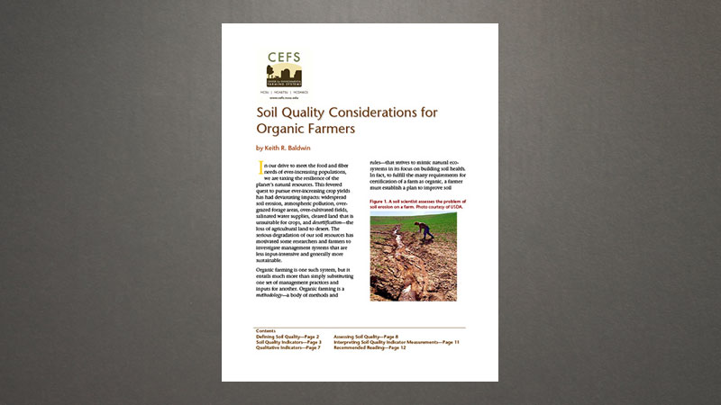 Soil quality considerations for organic farmers center for Soil quality pdf