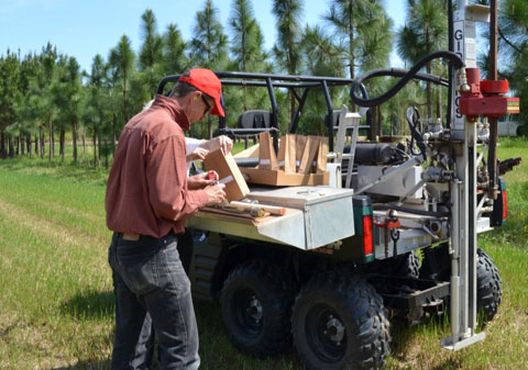 Alan Franzluebbers and members of the Soil Ecology and Management team collect baseline soil samples prior to pasture development in April 2014.